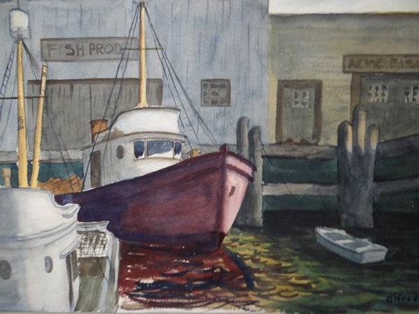 Alfred C. Ybarra (1905 – 2001) Watercolor Boats in a Harbor P695