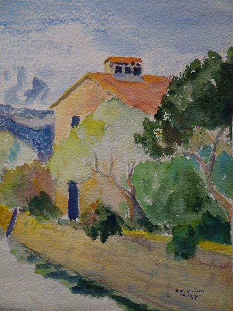 Alfred C. Ybarra (1905 – 2001) 1933 Watercolor of a Mallorca Neighborhood