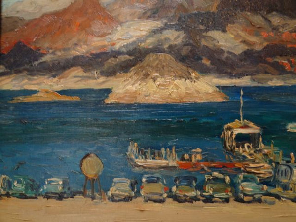Mentor Huebner 1954 Oil on Board  - Boat Landing, Lake Mead - P697
