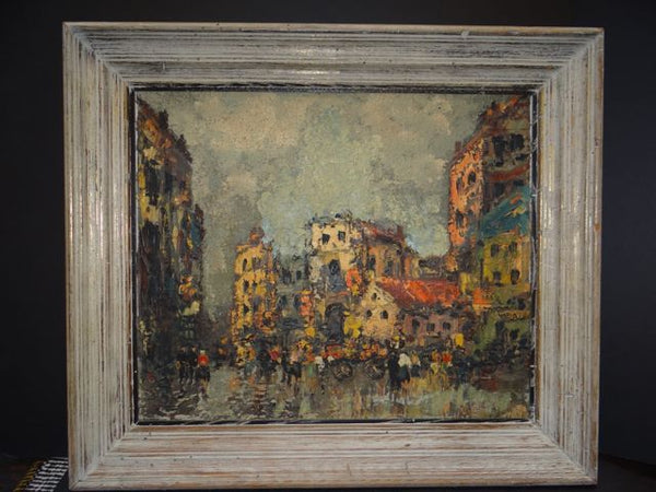 Post Expressionist City Scene by Boris Circa 1950