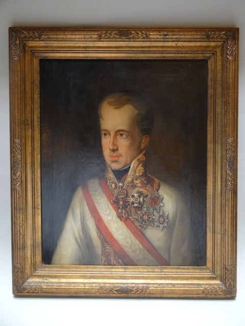 Early 19th Century Portrait Oil of Emperor Ferdinand I Austria