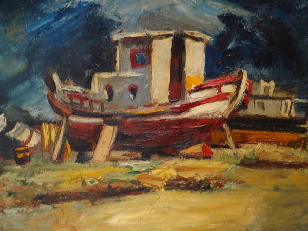 Boat Out Of Water Oil on Canvas signed Ataide 1947