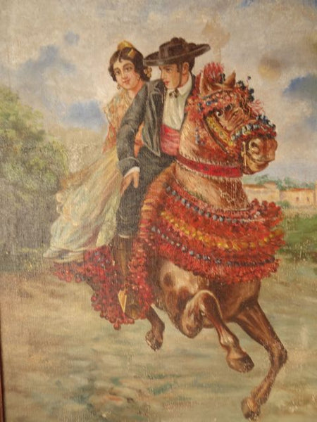 Couple on Horseback by L Gozalbo oil on canvas