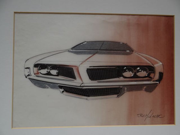 Bill Michalak Pontiac Concept Car (in White) circa 1969 Watercolor and Pen Original
