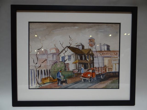 Monterey Bay Cannery Row Regionalist Watercolor 1940s
