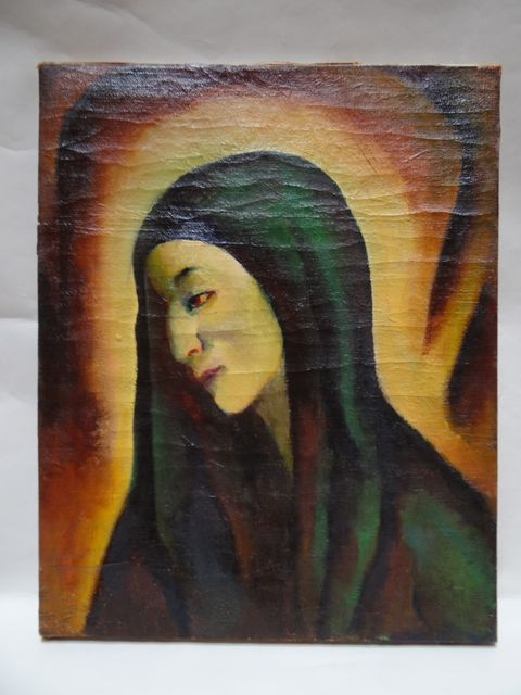 Folk Art Madonna c.1929 Oil on Canvas