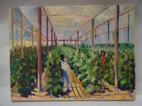 California Greenhouse Folk Art Painting Oil On Canvas c. 1929