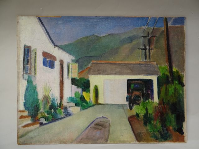 California Bungalow in the Foothills Folk Art Oil On Board c 1929