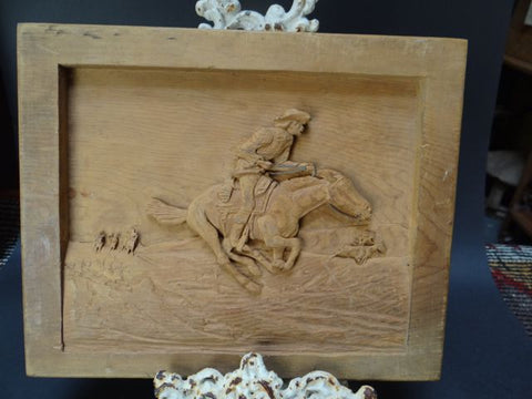 Carved Wooden Low Relief Panel of a Cowboy Riding Hell-for-leather