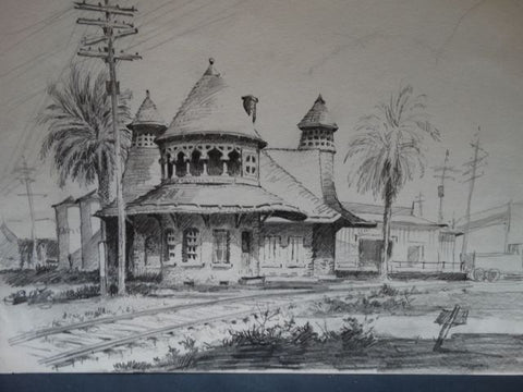 Frederic Watts Drawing: Pasadena Raymond Station