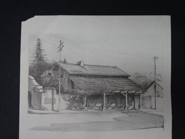 Frederic Watts Lithograph: Old Adobe House with Porch