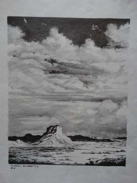 Frederic Watts Lithograph: Butte in Desert