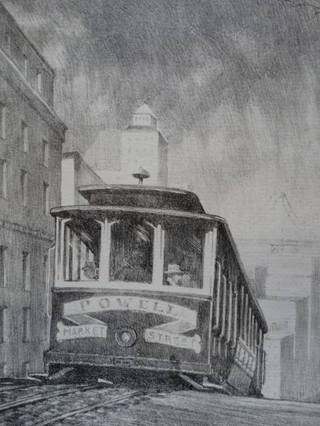 Frederic Watts Lithograph: San Francisco Cable Car