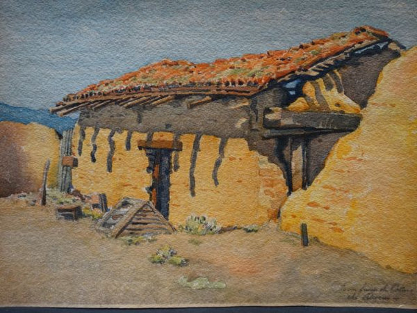 "Charles Owens Watercolor ""Adobe House"""