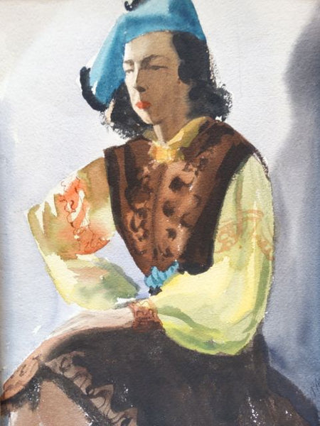 "D'Ambly watercolor ""Spanish Lady with the Blue Hat"""
