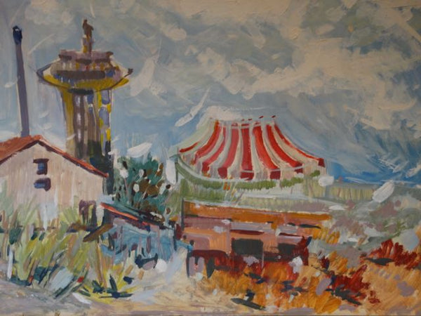 Leonard Charles Kazor View of Circus Circus and the Landmark Tower Acrylic c 1969