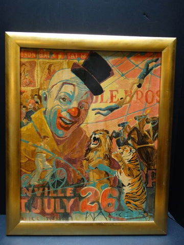 Cole Bros Circus Pop/Illustration Art Oil On Board 1960s