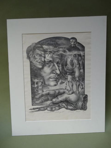 "Richard Evans Surrealist Litho: ""The Moribund Introspect"""
