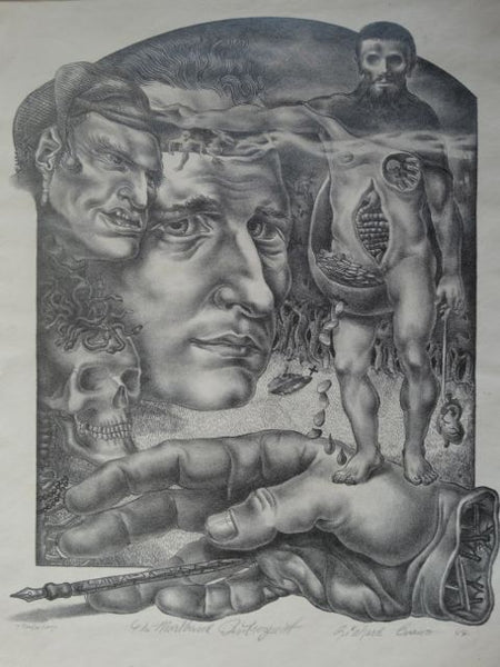 "Richard Evans (1923-2013) Surrealist Lithograph: ""The Moribund Introspect"" 1944"