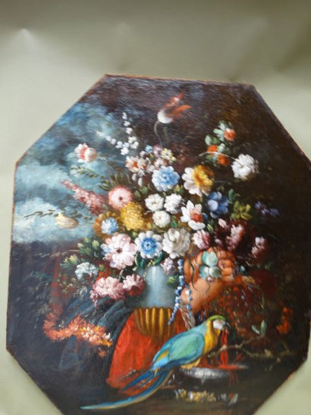 Spanish Colonial Floral Still Life with Parrot Oil on Canvas Mounted on Wood dated 1729