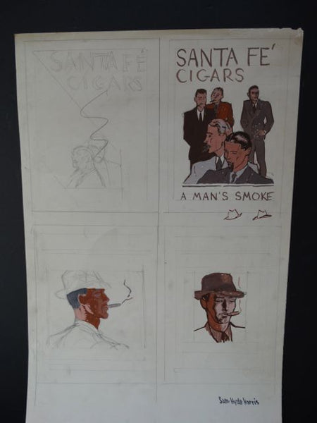 Sam Hyde Harris Santa Fe Cigars Working Sketches