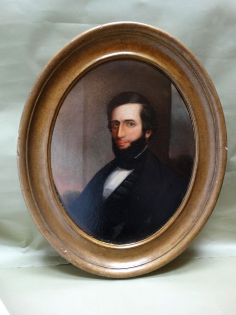 Oval Portrait of a Man Oil On Canvas 1860s