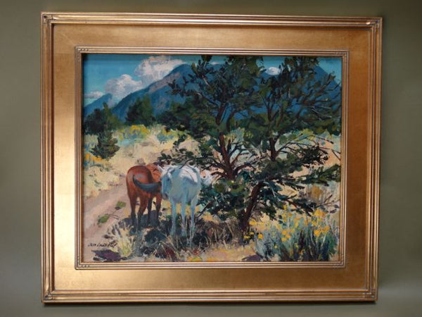 Donald Louis Ruf Western Scene Oil on Canvas