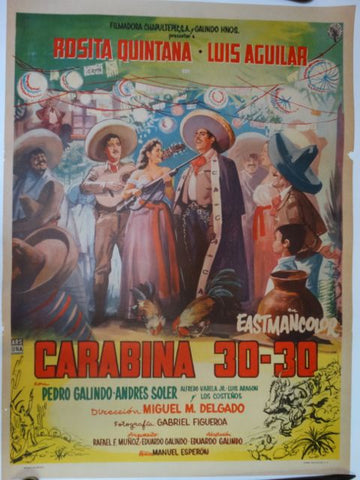Carabina 30-30 1958 Vintage Mexican Cinema Movie Poster
