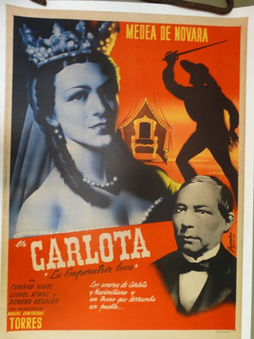 CARLOTA The Mad Empress Original Rare Mexican Movie 1939 Poster