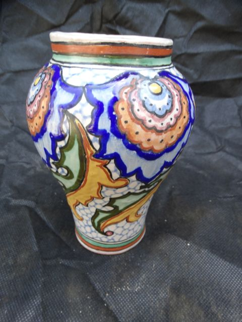 Mexican Blue Floral Vase By Yuriate of Mexico