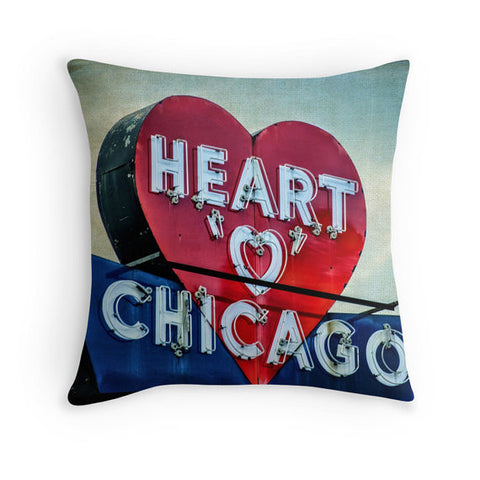 Chicago's Heart Pillow, Pillow Cover - Enzwell Artworks