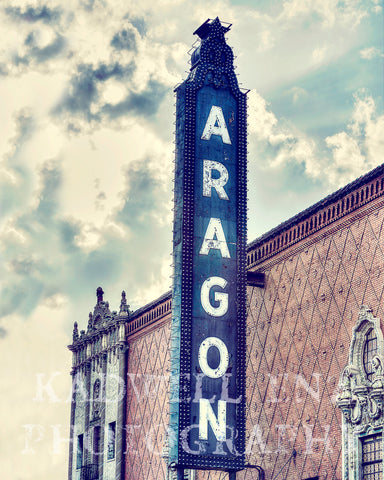 Chicago Photography, Aragon Ballroom, Cityscape Photo, Fine Art Print, Vintage Sign, Uptown Picture, Urban Landscape, Wall Print, Home Decor,  - Enzwell Artworks