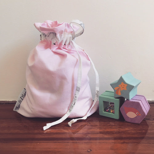 Toy Bag - Pink with Swan Trim