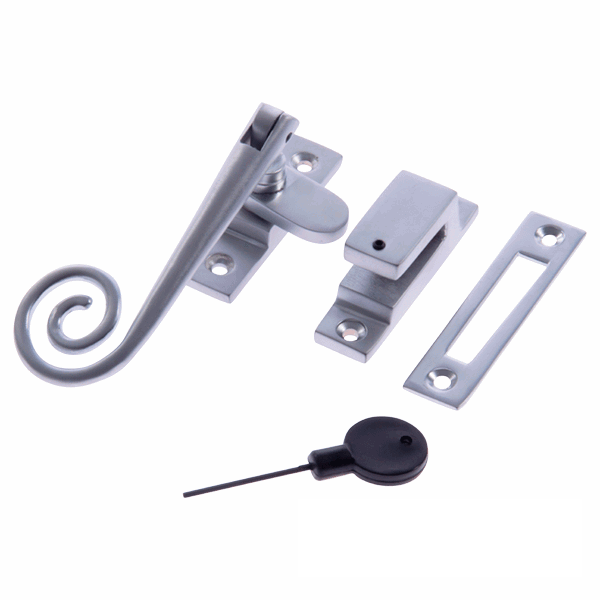Luxury Spiral End Locking Casement Window Fastener - Satin Chrome