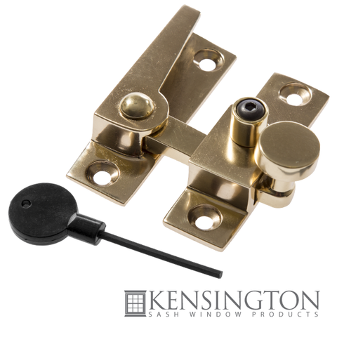 image of double hung sash window straight arm fastener brass
