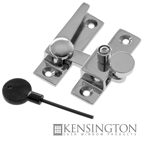 image of double hung sash window straight arm fastener chrome