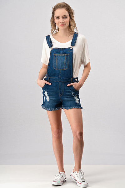 Harper Distressed Denim Overalls