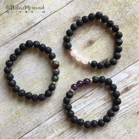 Lava Rock and Stone Bracelet - Native Mermaid Boutique