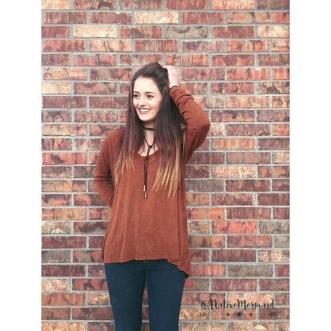 Rust V-Neck Top - Native Mermaid Boutique