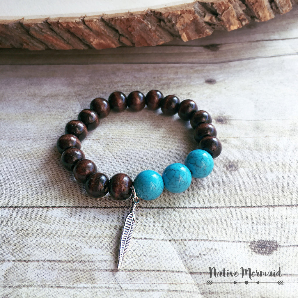 Wooden Turquoise Bracelet - Native Mermaid Boutique