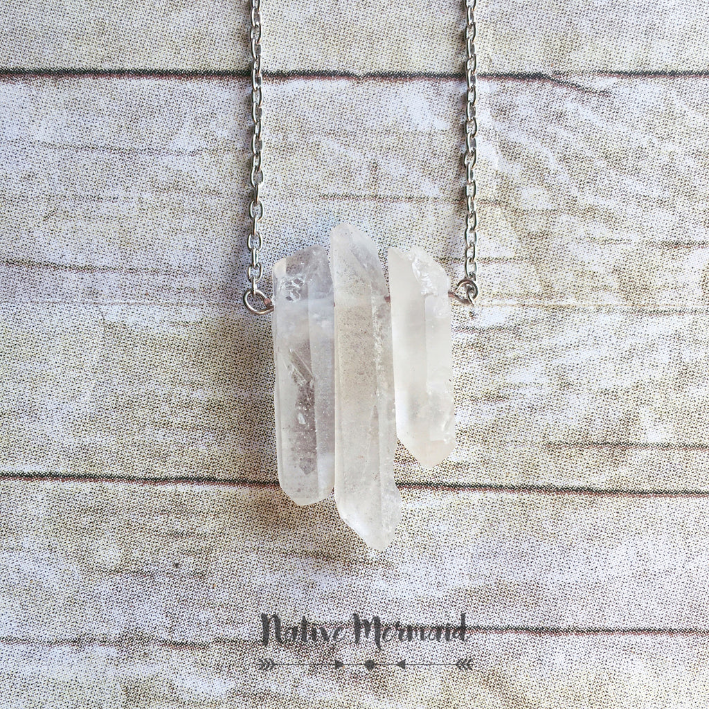 Triple Raw Quartz Necklace