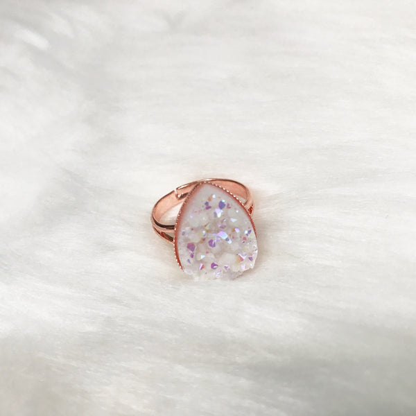 Teardrop Druzy Adjustable Ring - Native Mermaid Boutique