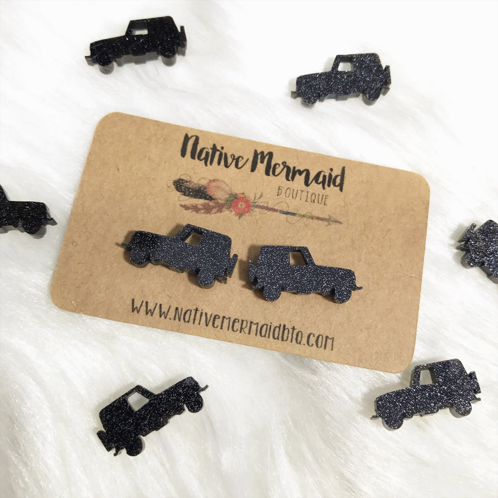 Black Glitter Jeep Studs - Native Mermaid Boutique
