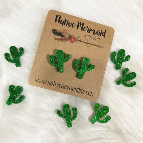 Green Glitter Cactus Studs - Native Mermaid Boutique