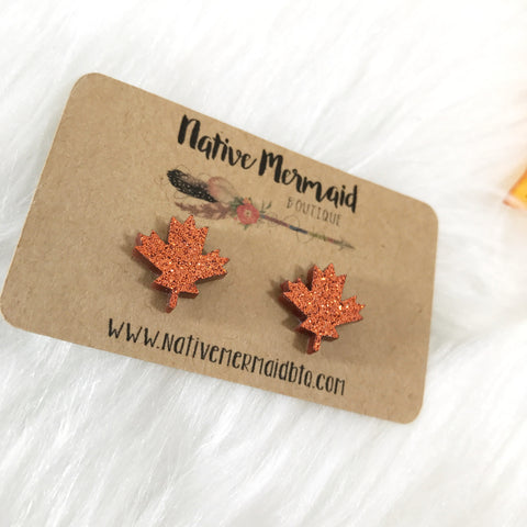 Copper Glitter Leaf Studs - Native Mermaid Boutique
