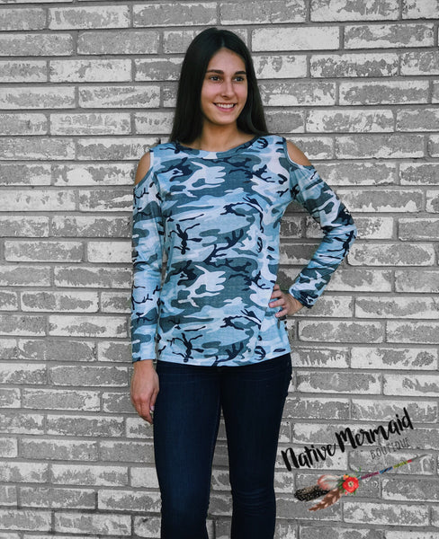 Cold Shoulder Camo Top
