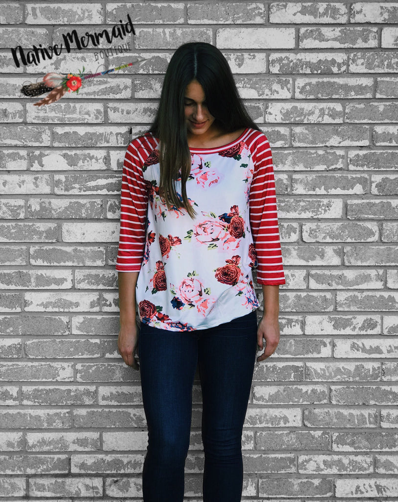 Red Floral Striped Raglan - Native Mermaid Boutique