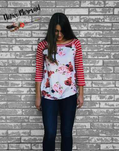 Red Floral Striped Raglan