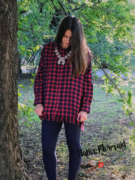 Plaid Fringe Tunic - Native Mermaid Boutique