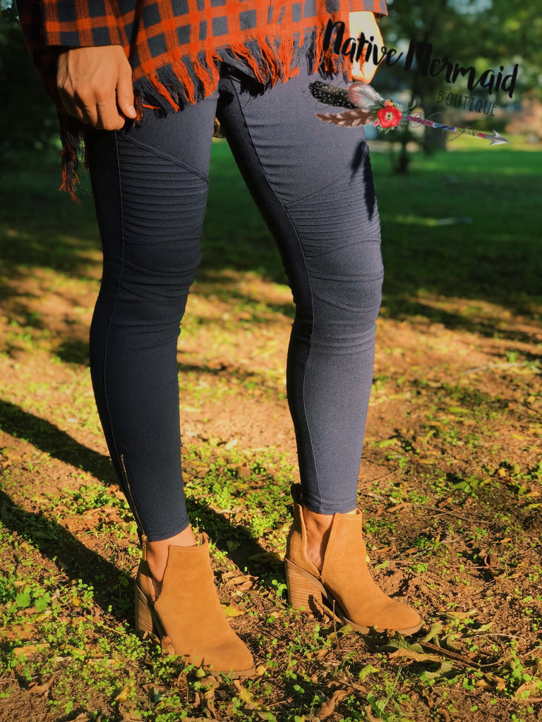 Moto Jeggings - Native Mermaid Boutique